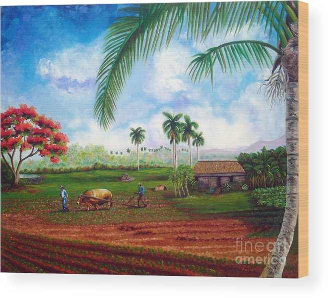 Cuban Art Wood Print featuring the painting The farm by Jose Manuel Abraham