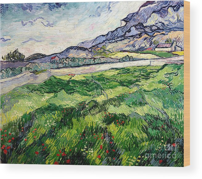The Wood Print featuring the painting The Green Wheatfield behind the Asylum by Vincent van Gogh