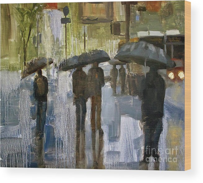 Cityscape Wood Print featuring the painting The rain came by Tate Hamilton