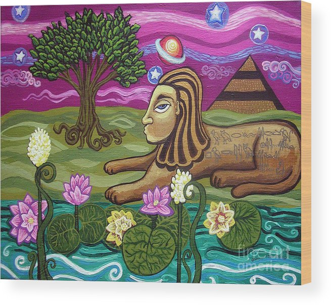 Egypt Wood Print featuring the painting The Sphinx by Genevieve Esson