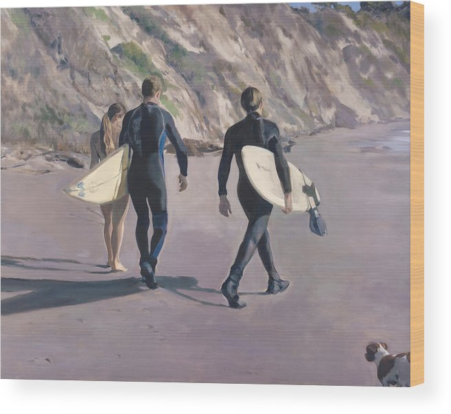 Surfers Wood Print featuring the painting The Surfers by Merle Keller