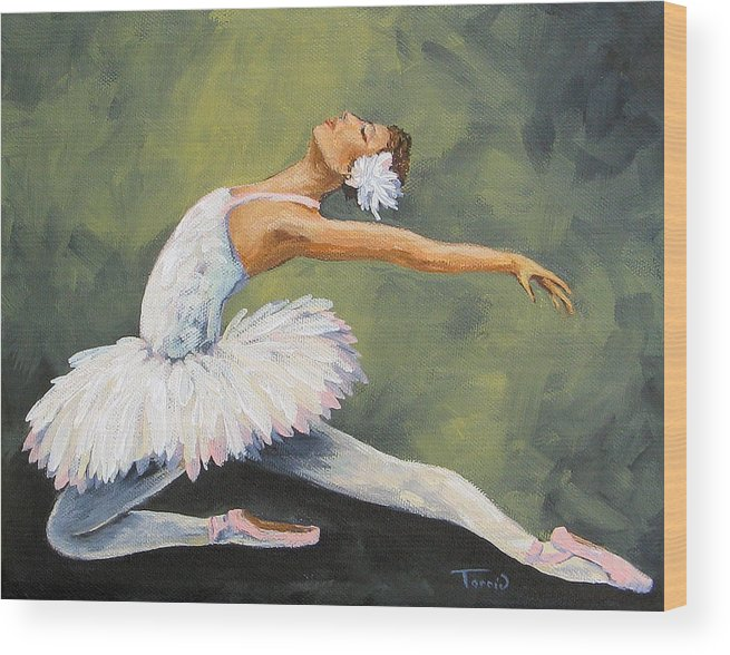 Ballet Wood Print featuring the painting The Swan III by Torrie Smiley
