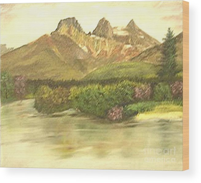 Lanscape Wood Print featuring the painting The Three Sisters by Nicholas Minniti