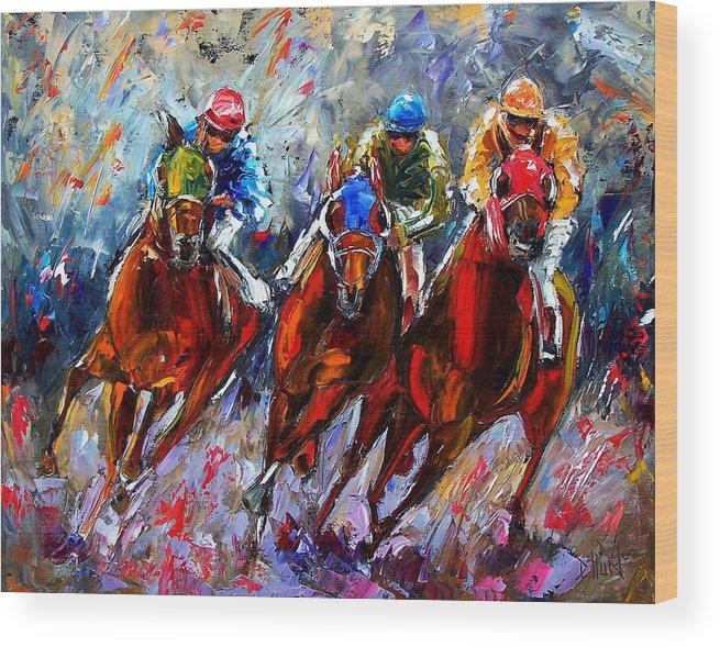Horses Wood Print featuring the painting The Turn 2 by Debra Hurd