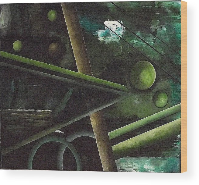 Wood Print featuring the painting The waterfall by Ara Elena