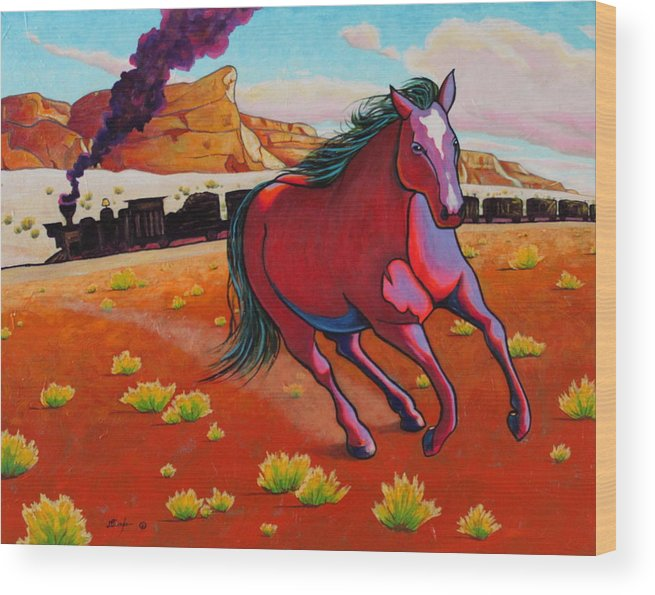 Wildlife Wood Print featuring the painting The Wild One - Mustang by Joe Triano