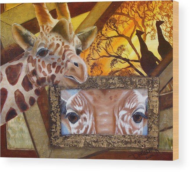 Giraffe Wood Print featuring the painting Those Eyes   Giraffe Safari Series No 3 by Darlene Green