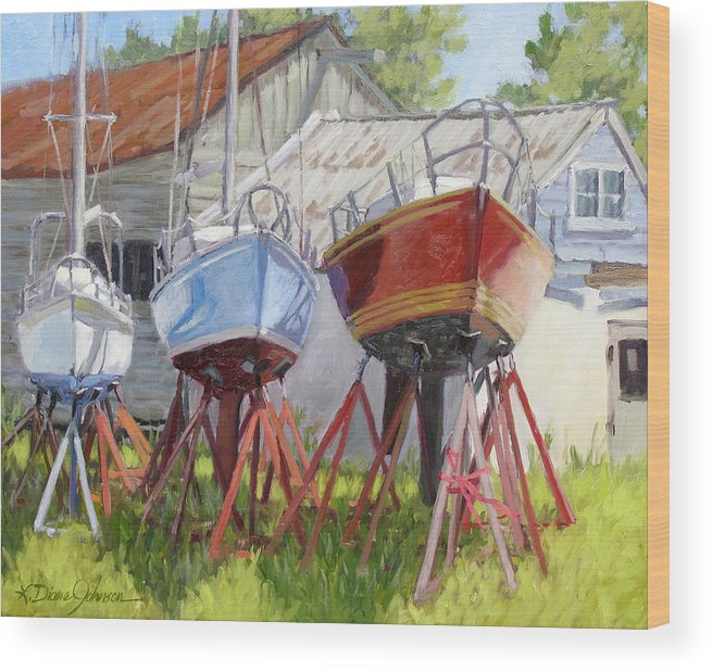 Sail Boats Wood Print featuring the painting Three Up by L Diane Johnson