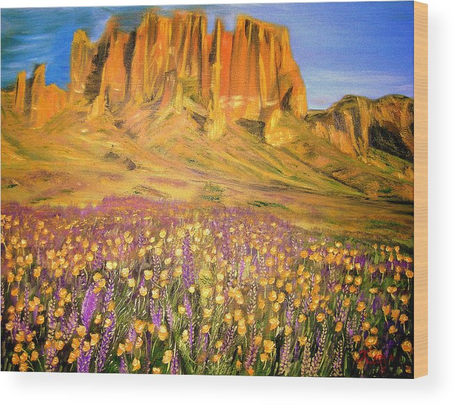 Landscape Flowers Mountains Wood Print featuring the painting Tonto National Forest by Kenneth LePoidevin