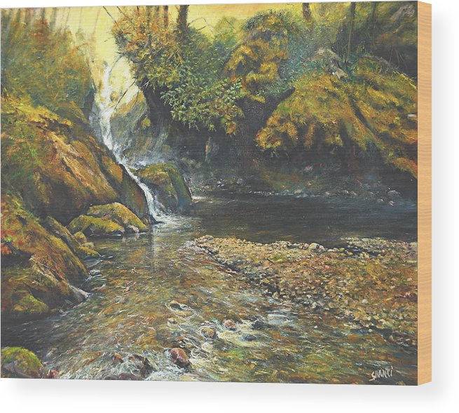 Landscape Wood Print featuring the painting Toward The Source by Craig shanti Mackinnon