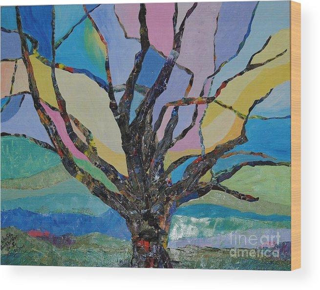 Landscape Wood Print featuring the mixed media Tree Petals by Judith Espinoza