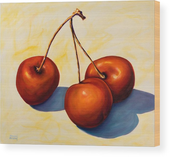 Cherries Wood Print featuring the painting Trilogy by Shannon Grissom