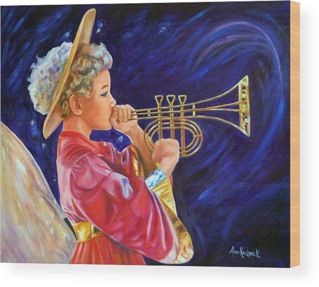Angel Wood Print featuring the painting Trumpeting Angel by Anne Kushnick