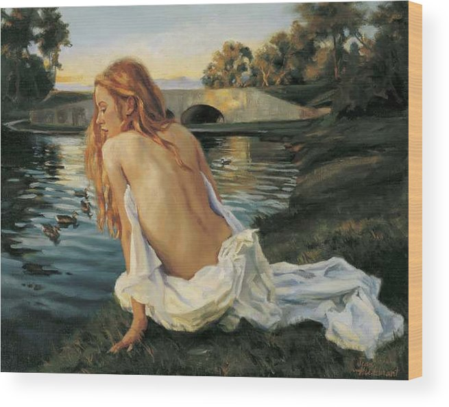 Young Wood Print featuring the painting Twilight Reflection by Jean Hildebrant