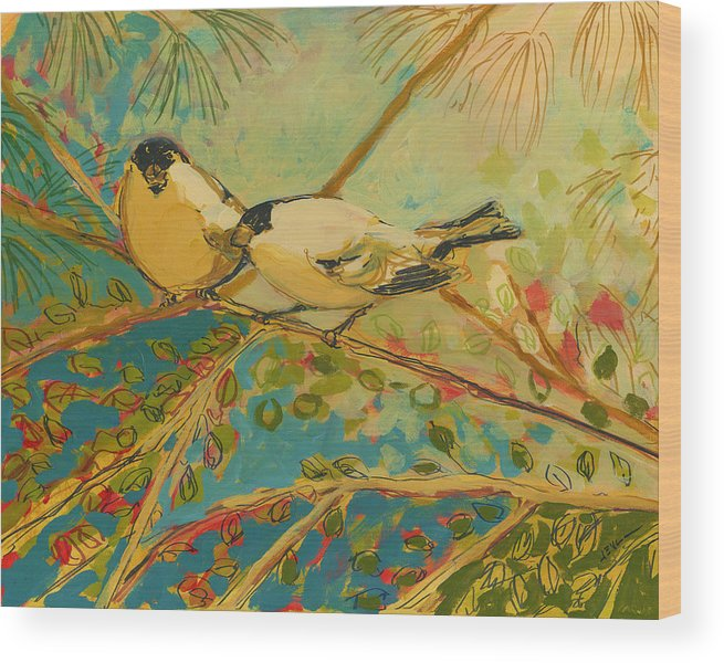 Bird Wood Print featuring the painting Two Goldfinch Found by Jennifer Lommers