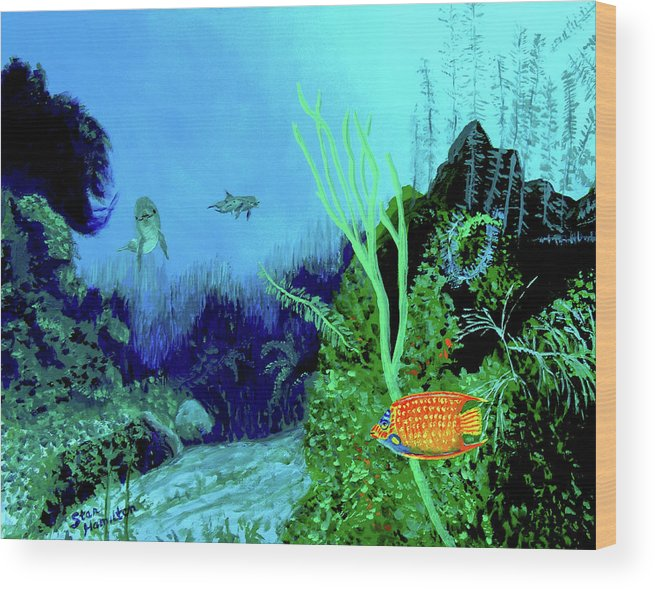 Wildlife Wood Print featuring the painting Underwater by Stan Hamilton