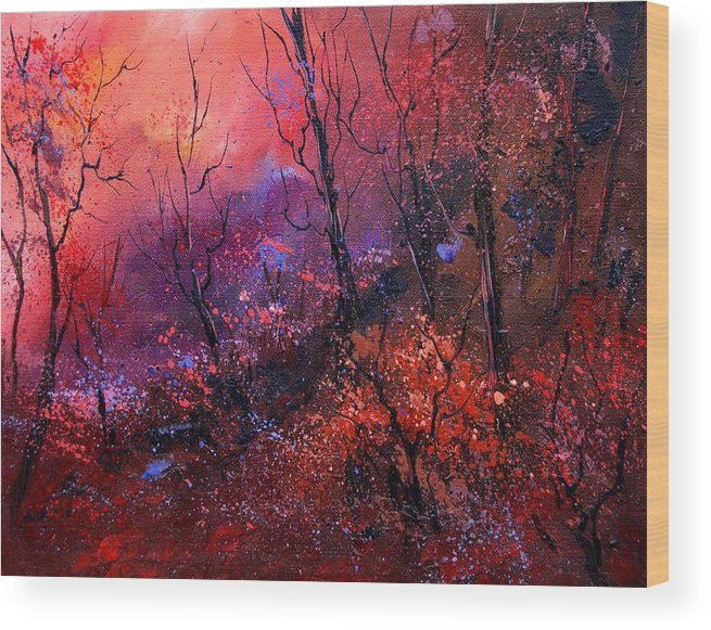 Wood Sunset Tree Wood Print featuring the painting Unset In The Wood by Pol Ledent