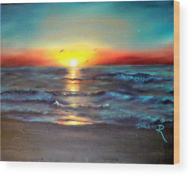 Sun Wood Print featuring the painting Wedding Sunrise on Indian Harbour Beach Florida by Darlene Green