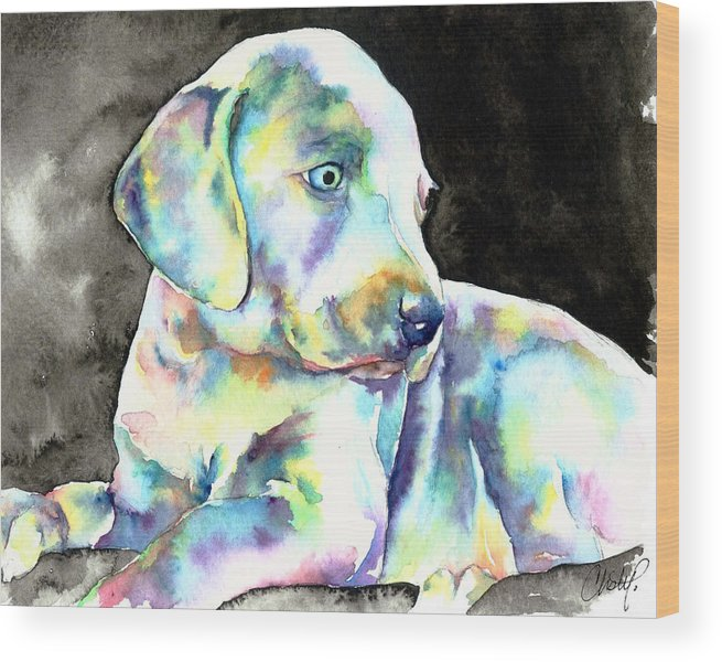 Weimy Wood Print featuring the painting Weimeraner Puppy by Christy Freeman Stark