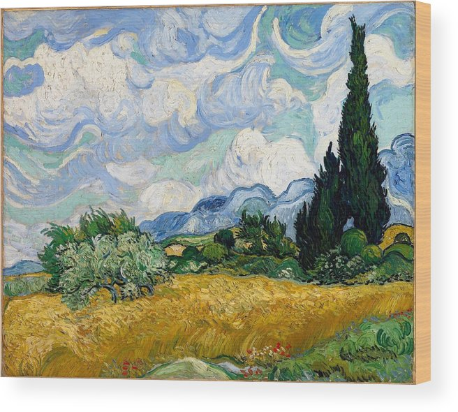 Vincent Van Gogh Wood Print featuring the painting Wheatfield With Cypresses by Van Gogh