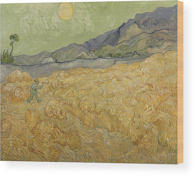 Wheatfield Wood Print featuring the painting Wheatfield with Reaper by Vincent Van Gogh