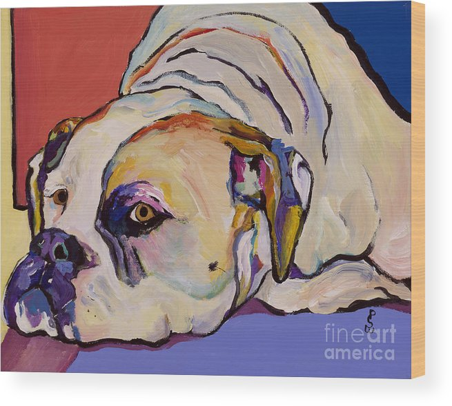 American Bulldog Wood Print featuring the painting Where Is My Dinner by Pat Saunders-White