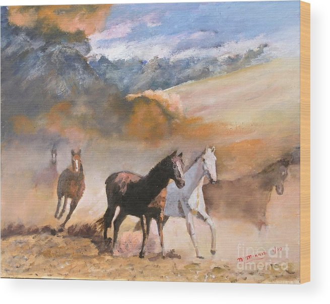 Landscape Wood Print featuring the painting Wild Horses by Nicholas Minniti