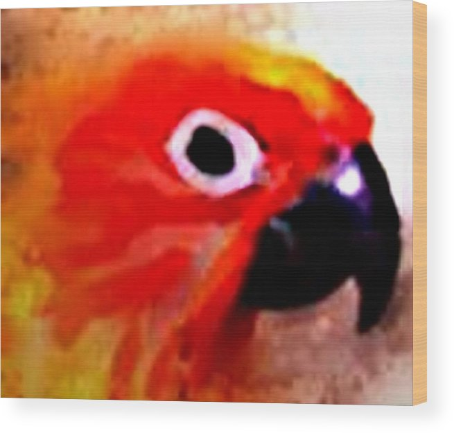 Parrot Wood Print featuring the digital art Wild Parrot by Crystal Webb