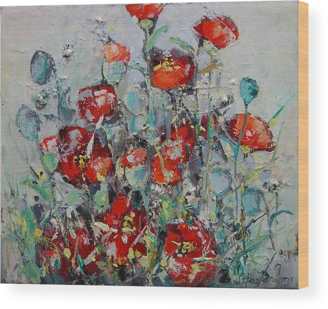 Flowers Wood Print featuring the painting Wild Poppies by Sari Haapaniemi