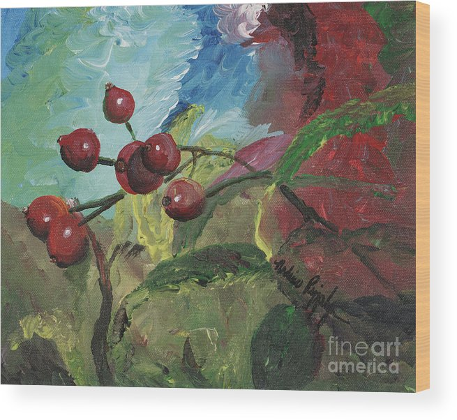 Berries Wood Print featuring the painting Winter Berries by Nadine Rippelmeyer