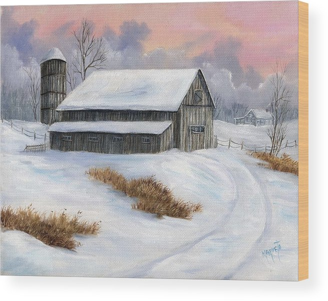 Landscape Snow Landscape Wood Print featuring the painting Winter Moment by Marveta Foutch