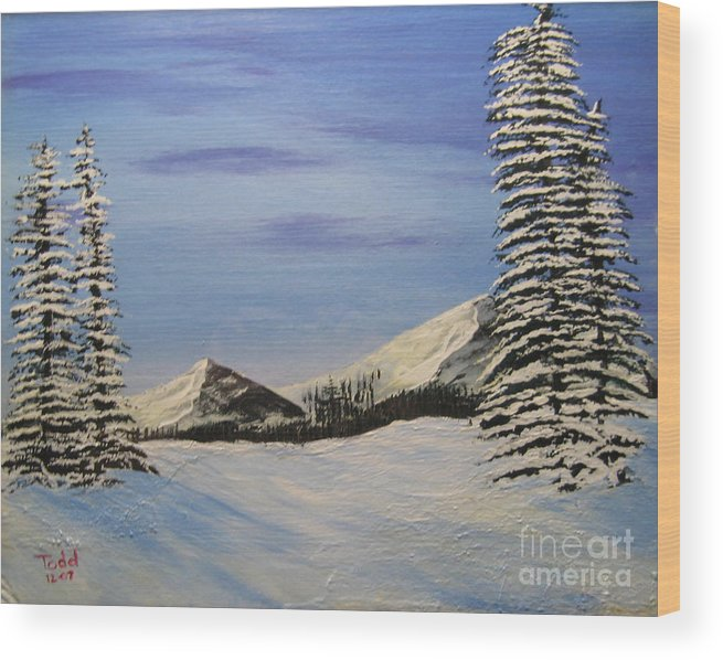 Landscape Wood Print featuring the painting Winters chill by Todd Androy