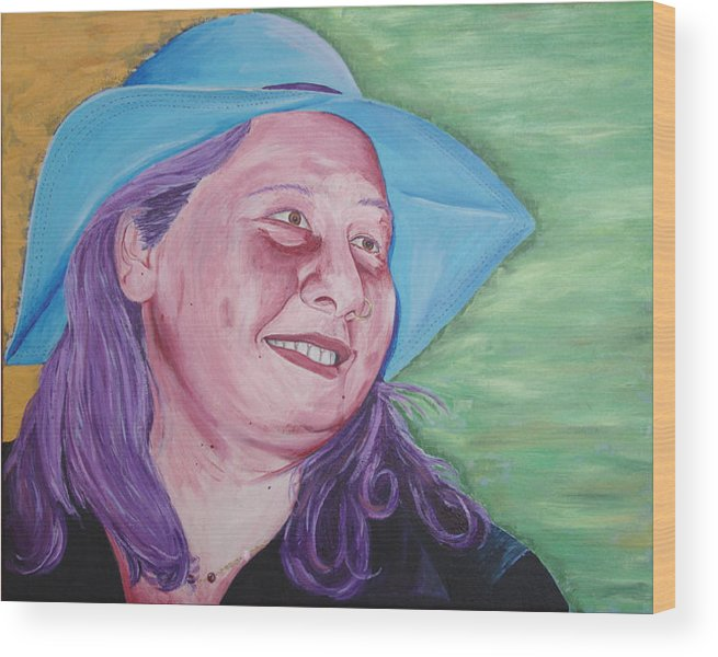 Portrait Wood Print featuring the painting Yellow Blue Green Christine by Kevin Callahan