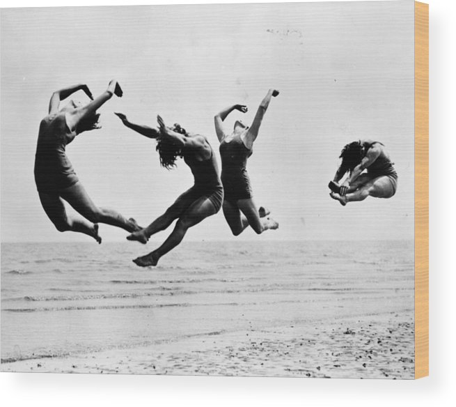 1930-1939 Wood Print featuring the photograph Beach Exercise by Reg Speller