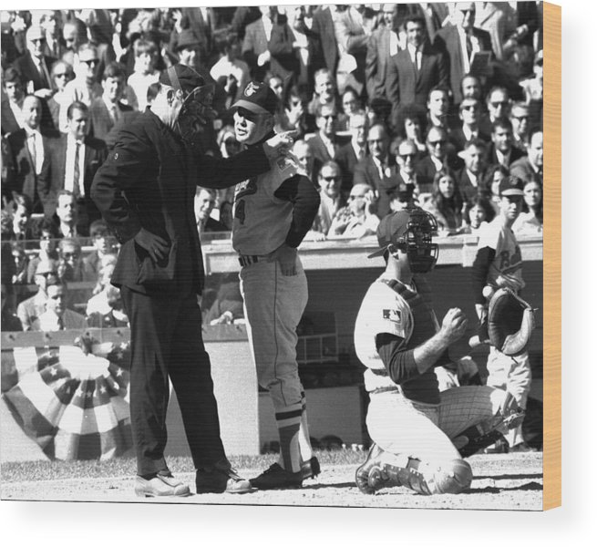 American League Baseball Wood Print featuring the photograph N.y. Mets Vs. Baltimore Orioles. 1969 by New York Daily News Archive