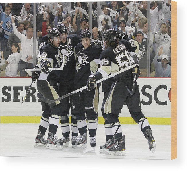 Playoffs Wood Print featuring the photograph Philadelphia Flyers V Pittsburgh by Justin K. Aller