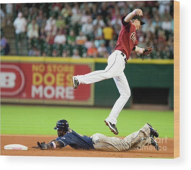 Tony Gwynn Jr. Wood Print featuring the photograph San Diego Padres V Houston Astros by Bob Levey