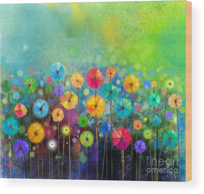 Beauty Wood Print featuring the digital art Abstract Floral Watercolor Painting by Pluie r