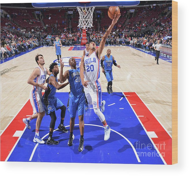 Nba Pro Basketball Wood Print featuring the photograph Philadelphia 76ers V Orlando Magic by Jesse D. Garrabrant