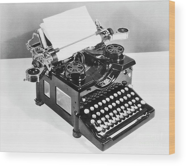 Mineral Wood Print featuring the photograph Typewriter by Bettmann