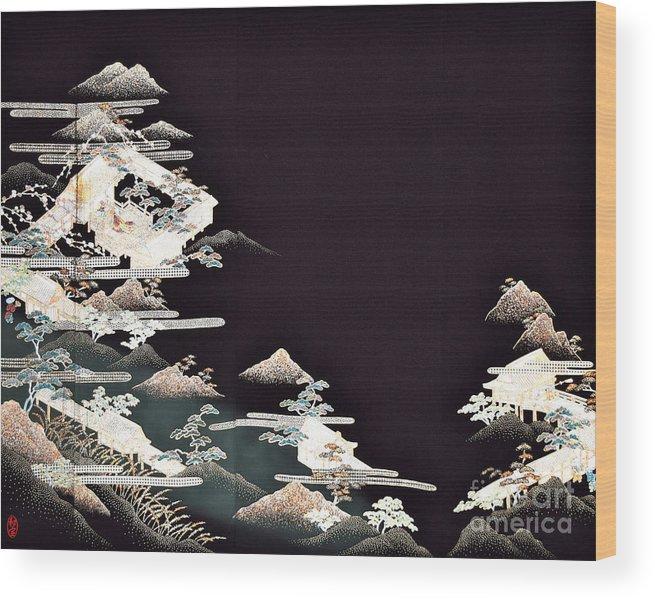 Wood Print featuring the digital art Spirit of Japan T54 by Miho Kanamori