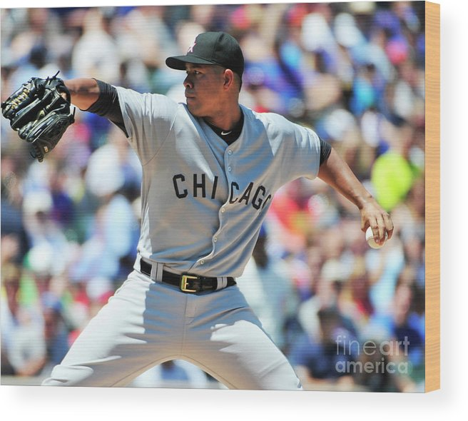 Three Quarter Length Wood Print featuring the photograph Chicago White Sox V Chicago Cubs by David Banks