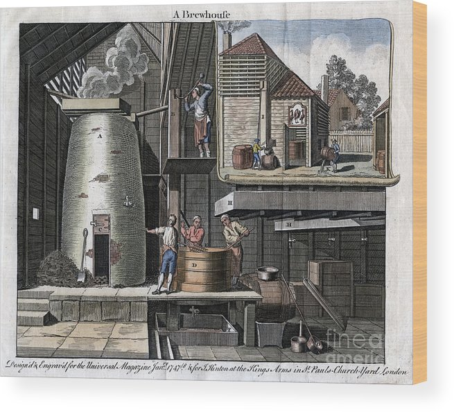 Rubbing Alcohol Wood Print featuring the drawing A Brewhouse, 1747 by Print Collector