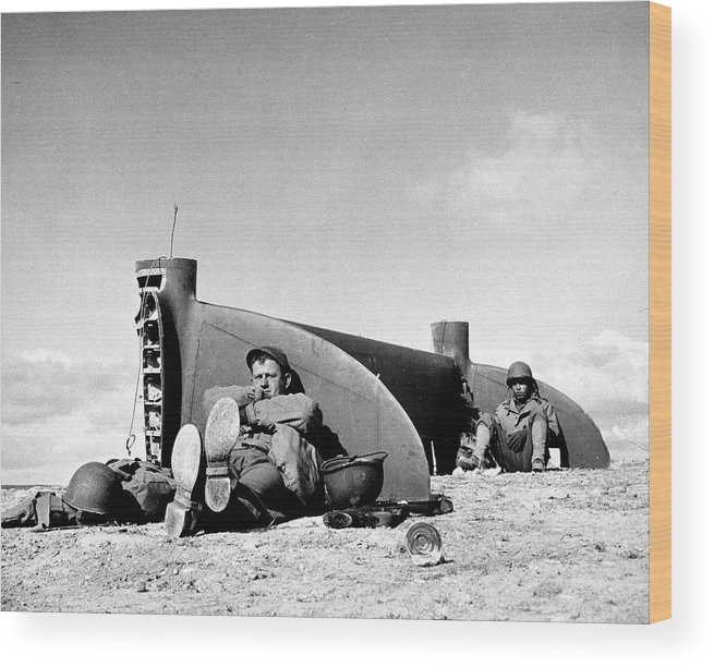 Timeincown Wood Print featuring the photograph American Soldiers In Tunisia Wwii by Margaret Bourke-white