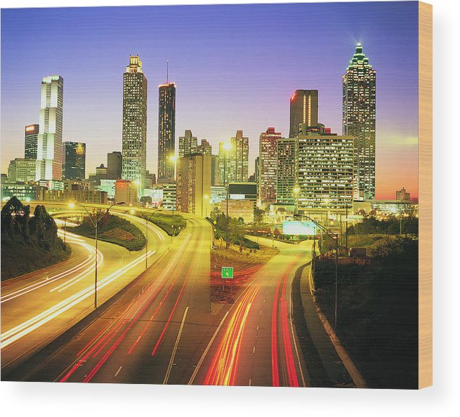 Atlanta Wood Print featuring the photograph Atlanta Skyline, Georgia, Usa by Travel Ink