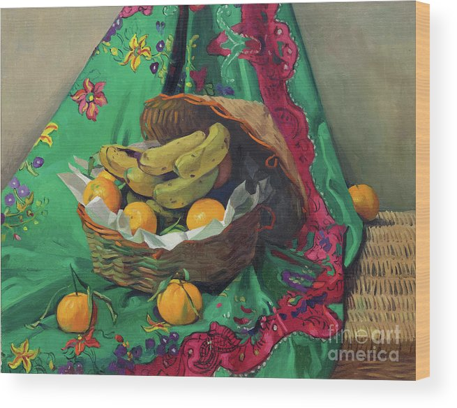 Oil Painting Wood Print featuring the drawing Basket Of Tangerines And Bananas by Heritage Images
