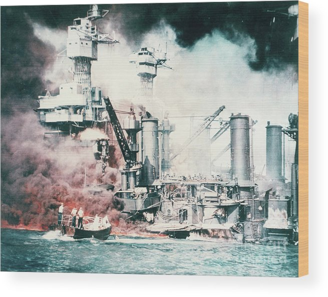 People Wood Print featuring the photograph Battleships Burning At Pearl Harbor by Bettmann