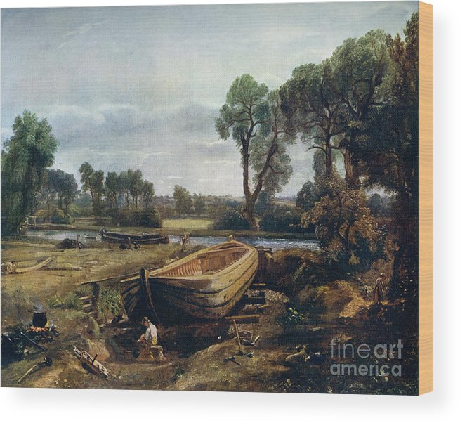 Working Wood Print featuring the drawing Boat Building Near Flatford Mill, 1815 by Print Collector