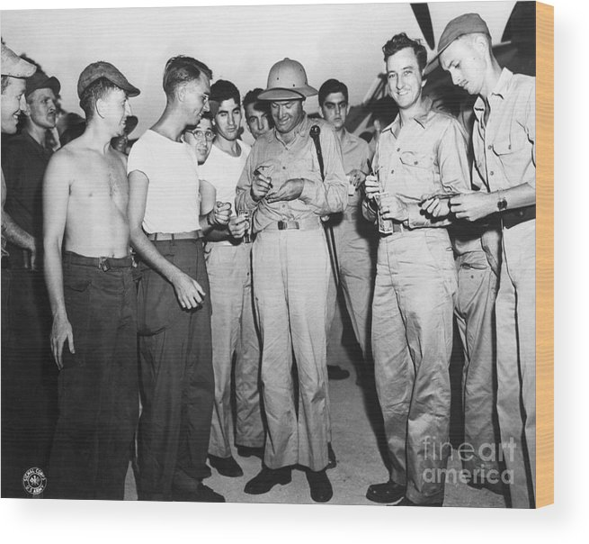 People Wood Print featuring the photograph Bob Hope Signing Autograph For Soldiers by Bettmann