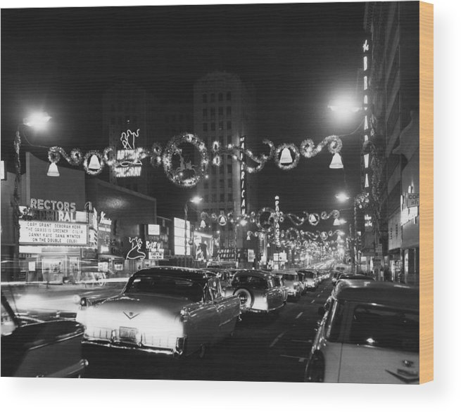 Hollywood Boulevard Wood Print featuring the photograph Christmas In Hollywood by American Stock Archive